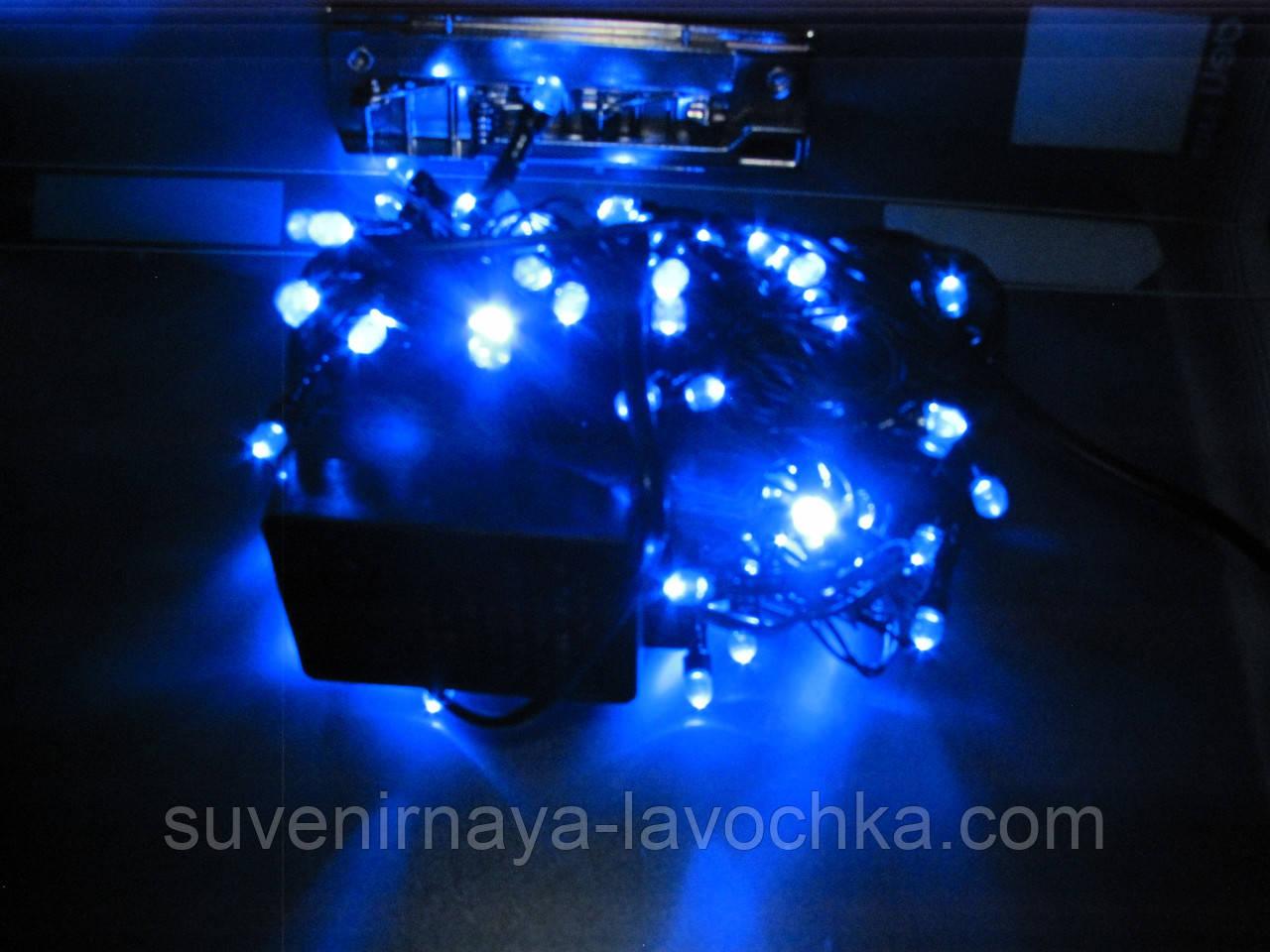Гирлянда  ЛИЗА  100 LED5mm  на черном проводе, синяя
