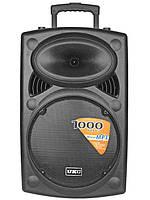 """Акустическая система аккумуляторная колонка 15"""" 2 микрофона Bluetooth USB FM UKC BT15A 1000Вт"""