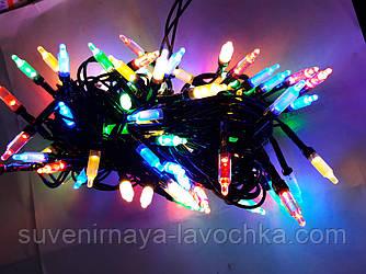 Гірлянда КРИСТАЛ LED 8mm на чорному проводі, різнокольорова