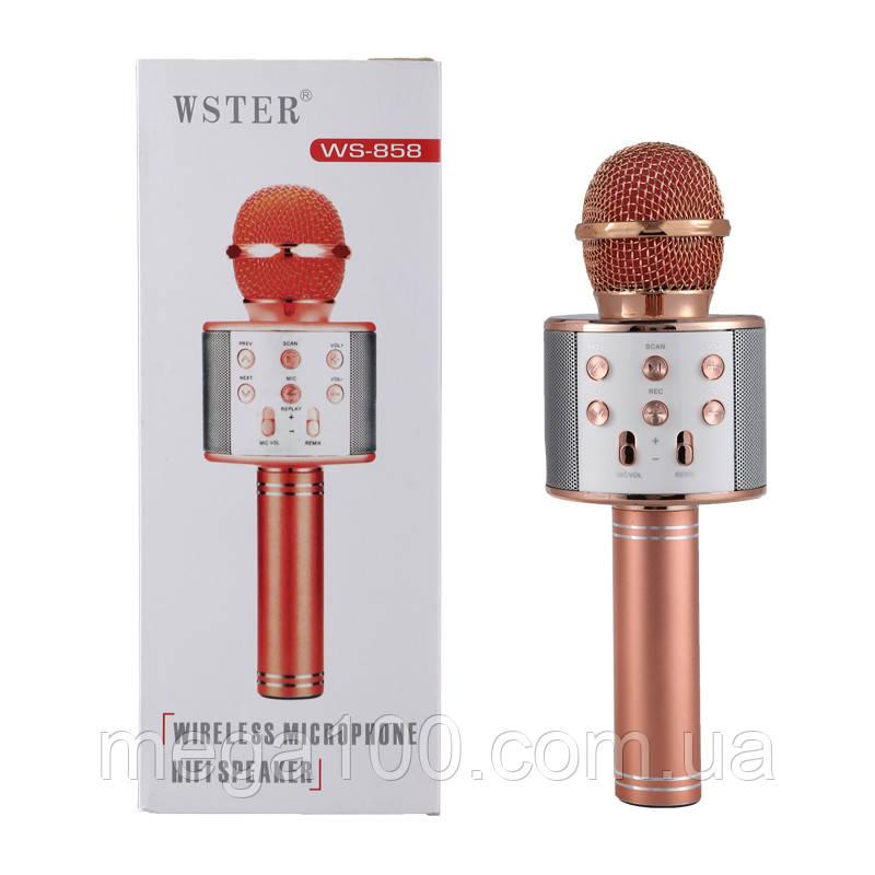 Микрофон караоке беспроводной, сопряжение по Bluetooth, цвет розовое золотой