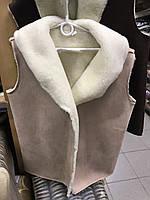 Жилетка из овчины замшевая s-2xl , жилетка з овечої шерсті замшева, безрукавка з овечої шерсті замшева