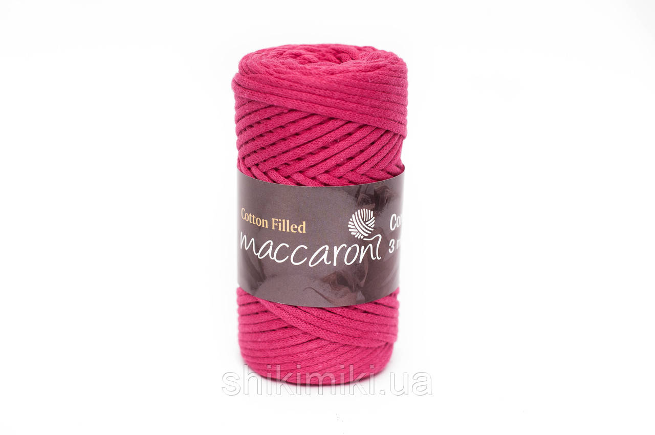 Трикотажный хлопковый шнур 3 мм,цвет малиновый
