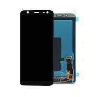 Дисплей (экран) для Samsung J600F Galaxy J6 (2018) + тачскрин, черный, переклеено стекло