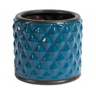 Горшок для цветов синий декоративный керамический
