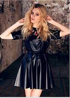 Платье из искусственной кожи черного цвета