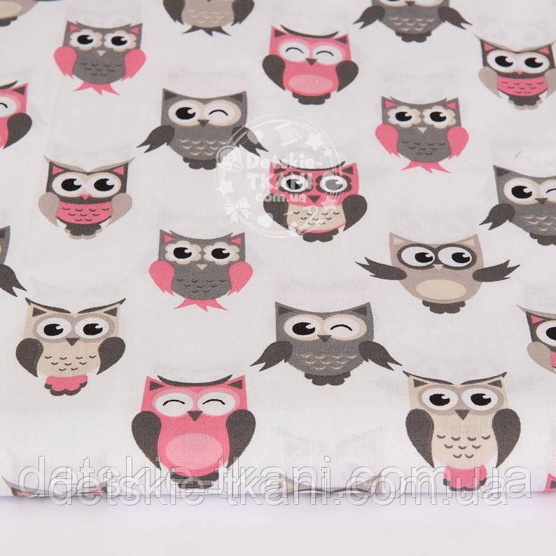 Ткань с совушками в шахматном порядке, серо-розовый цвет № 1043а