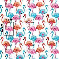 Ткань хлопковая с высокими розовыми и голубыми фламинго № 1055а