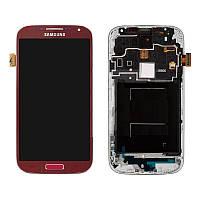 Дисплей для Samsung Galaxy S4 i9500, модуль в сборе (экран и сенсор), c передней панелью, красный, оригинал