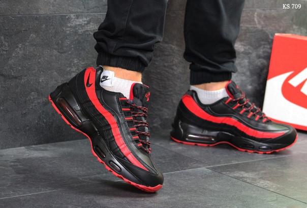 Зимние кроссовки Nike 95 (черно/красные) ЗИМА