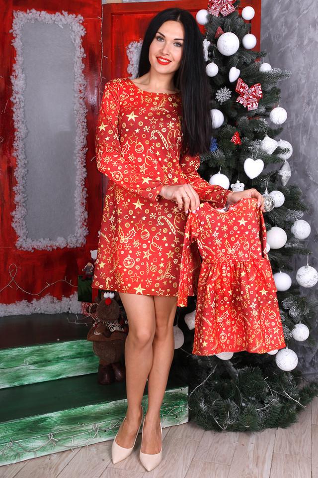 f8308ad1d4b Новогодний Family Look платье женское и детское для девочки - EVA LOOK в  Хмельницком