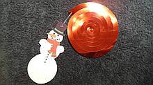 """Гирлянда для нового года """"Снеговик"""" - 1шт., размер снеговика 15*7см, картон, фольга"""