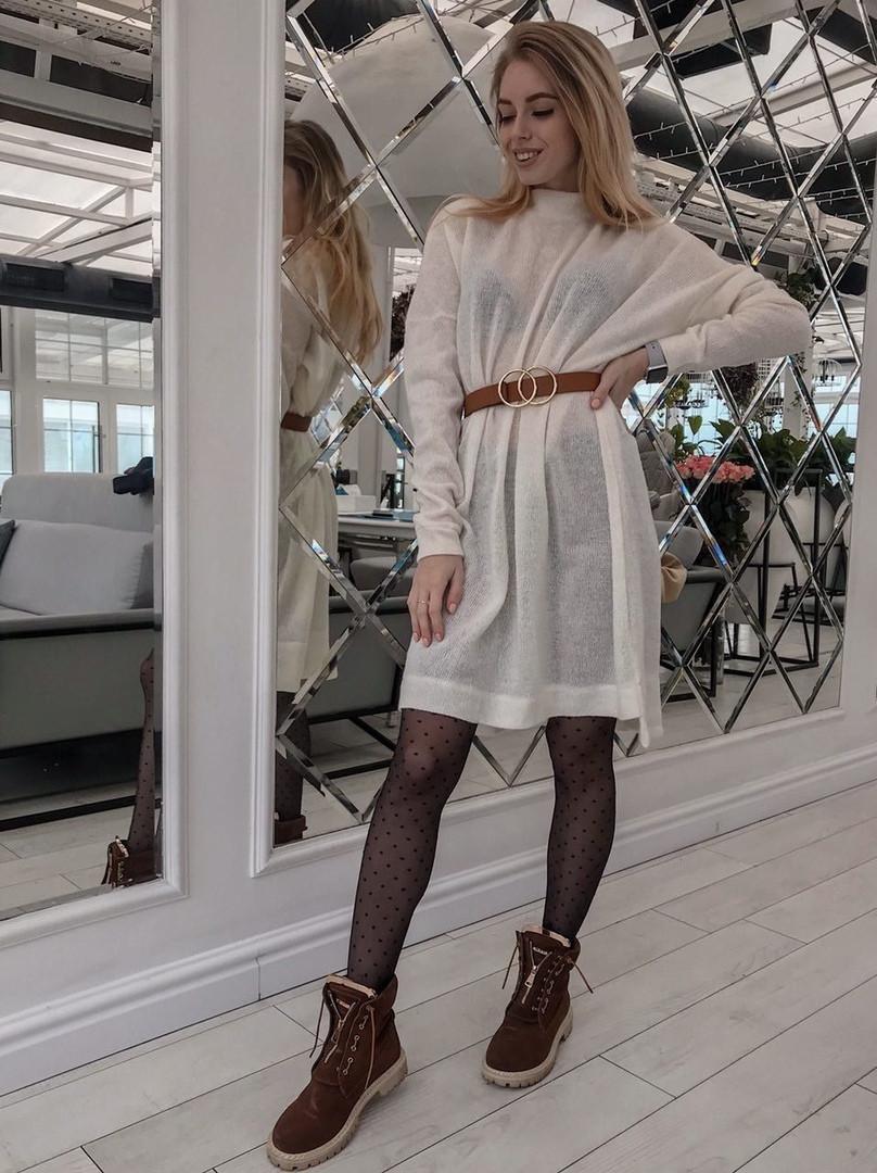 abe89f38b5c Женское белое теплое платье туника из тонкой вязки миди длины - Супермаркет  одежды Modamart.com