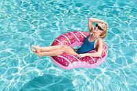 Огромный Надувной круг Пончик Donuts 107 см малиновый Bestway 36118