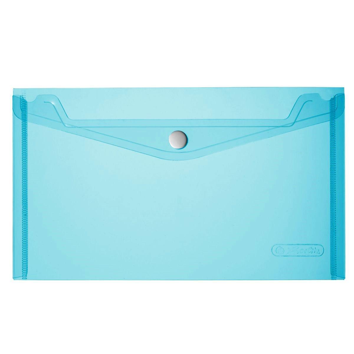 Папка-конверт на кнопке Herlitz 22.5x13см 200мкм голубая прозрачная
