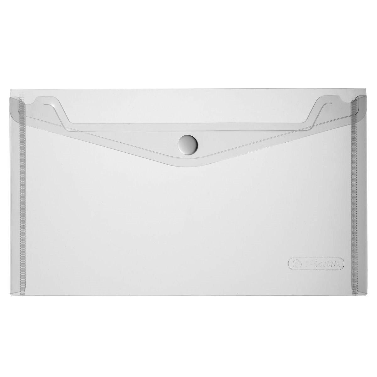 Папка-конверт на кнопке Herlitz 22.5x13см 200мкм бесцветная прозрачная