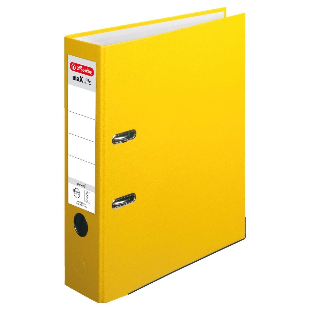 Папка-регистратор Herlitz А4 8см Protect желтая