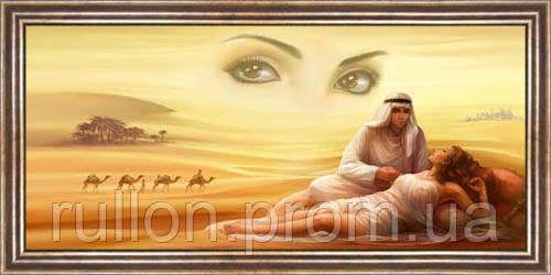 Картина YS-Art CA033-22 Девушка в пустыне 33x70 (Пейзаж, коричневая рамка)
