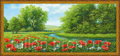 Картина YS-Art CA037-64 Маки в поле 33x70 (Пейзаж, золотистая рамка)