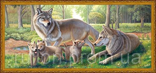 Картина YS-Art CA039-63 Волки 33x70 (Пейзаж, золотистая рамка)
