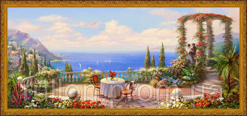 Картина YS-Art CA040-61 Столик на террасе 33x70 (Пейзаж, золотистая рамка)