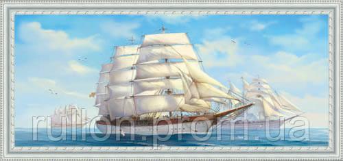 Картина YS-Art CA047-54 Парусники 33x70 (Пейзаж, белая рамка)