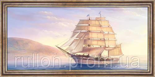 Картина YS-Art CA048-24 Парусник на фоен берега 33x70 (Пейзаж, коричневая рамка)