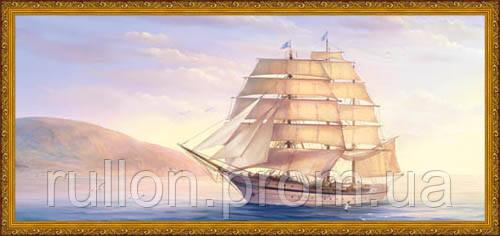Картина YS-Art CA048-64 Парусник на фоен берега 33x70 (Пейзаж, золотистая рамка)