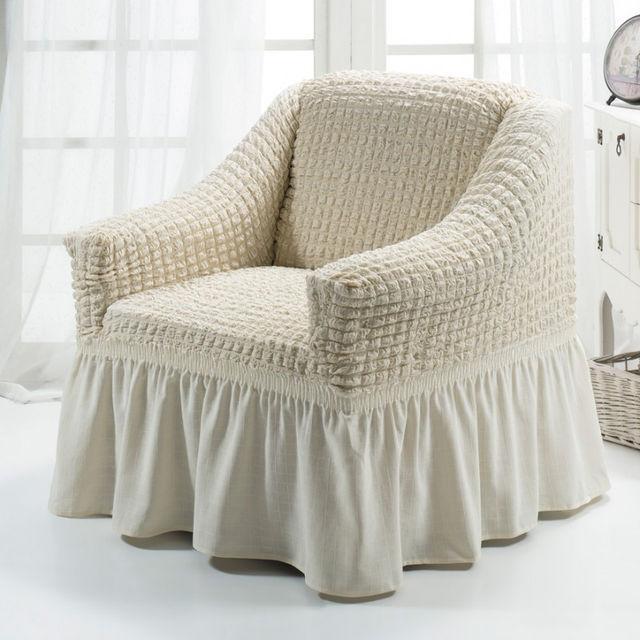Чехол на Кресло универсальный натяжной Кремовый Турция