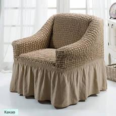 Чехол на Кресло универсальный натяжной Кремовый Турция , фото 3