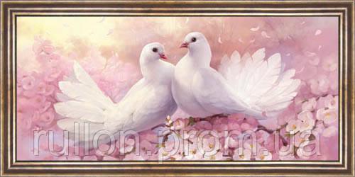 Картина YS-Art CA052-24 Два голубя 33x70 (Пейзаж, коричневая рамка)