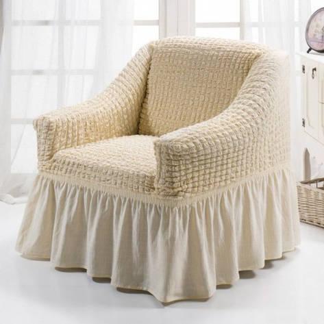 Чехол на Кресло универсальный натяжной Кремовый Натуральный Турция , фото 2