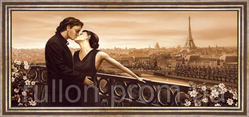 Картина YS-Art CA055-24 Целующийся мужчина с женщиной на мосту 33x70 (Пейзаж, коричневая рамка)