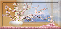 Картина YS-Art CA057-13 Веточки сакуры у окна 33x70 (Натюрморт, с дорисовкой на рамке)