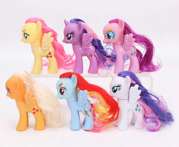 Набор пони 6 штук - 8 см. My Little Pony Мой маленький пони Игрушка для девочек Единорог