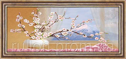 Картина YS-Art CA057-23 Веточки сакуры у окна 33x70 (Натюрморт, коричневая рамка)