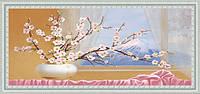 Картина YS-Art CA057-53 Веточки сакуры у окна 33x70 (Натюрморт, белая рамка)