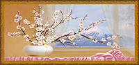 Картина YS-Art CA057-63 Веточки сакуры у окна 33x70 (Натюрморт, Золотистая рамка)