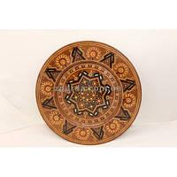 Уникальная резная  тарелка из дерева груши (30 см.)