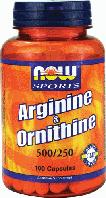 Аргинин Орнитин, Now Foods, L-Arginine & Ornithine, 500/250 mg 100 Caps