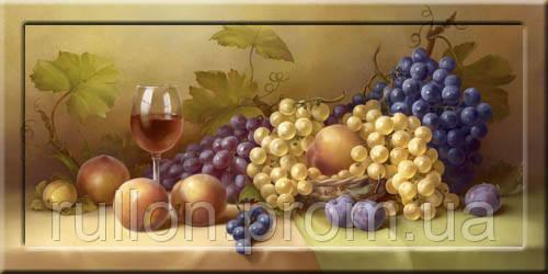 Картина YS-Art CA072-14 Виноград и вино 33x70 (Натюрморт, с дорисовкой на рамке)