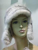 """Шапочка из вязаной норки с ушками и козырьком цвет: """"крестовка"""""""