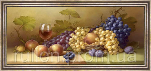 Картина YS-Art CA072-24 Виноград и вино 33x70 (Натюрморт, коричневая рамка)