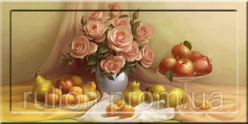 Картина YS-Art CA073-14 Цветы и фрукты 33x70 (Натюрморт, с дорисовкой на рамке)