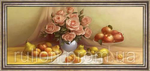 Картина YS-Art CA073-24 Цветы и фрукты 33x70 (Натюрморт, коричневая рамка)