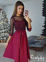 Платье модное красивое верх сетка в горошек и пышная юбка миди Sms2883, фото 1