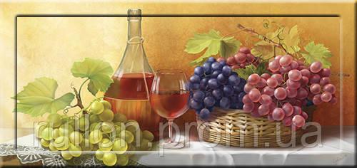 Картина YS-Art CA074-12 Вино и виноград 33x70 (Натюрморт, с дорисовкой на рамке)