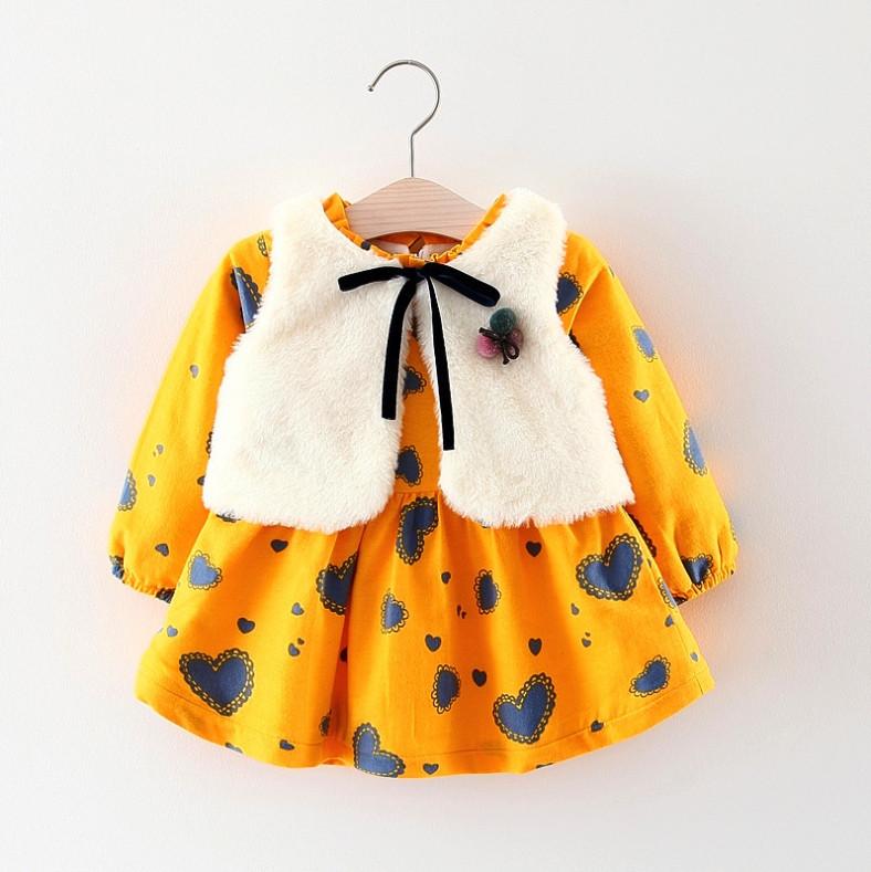 Нарядное детское платье на девочку утепленное желтое с жилеткой