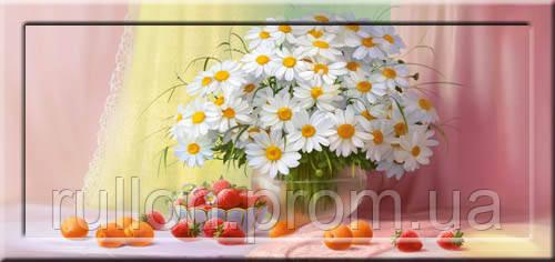 Картина YS-Art CA075-14 Ромашки, клубника и персики 33x70 (Натюрморт, с дорисовкой на рамке)