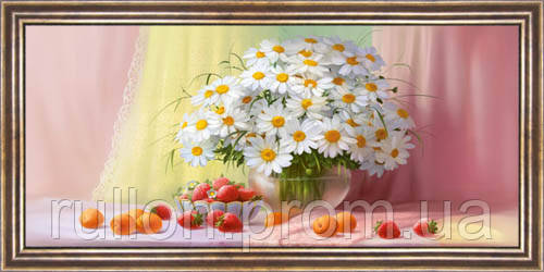 Картина YS-Art CA075-24 Ромашки, клубника и персики 33x70 (Натюрморт, коричневая рамка)