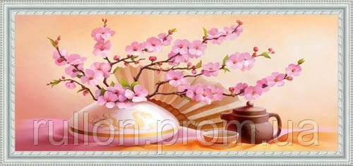 Картина YS-Art CA076-53 Веточки сакуры + веер 33x70 (Натюрморт, белая рамка)